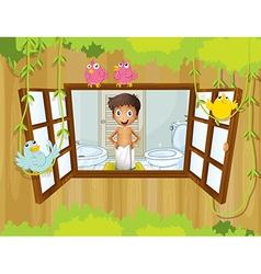 A boy with towel inside the bathroom vector