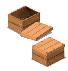 a set wooden boxes with lids isolated on white vector image