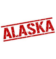 alaska red square stamp vector image