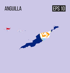 anguillla map border with flag eps10 vector image
