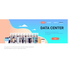 arabic people working data center room hosting vector image