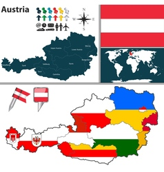 Austria map with regions and flags vector