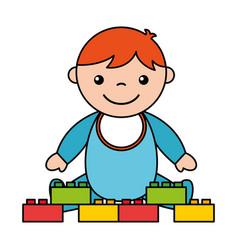 Baby boy blocks toys vector
