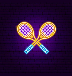Badminton rackets neon sign vector