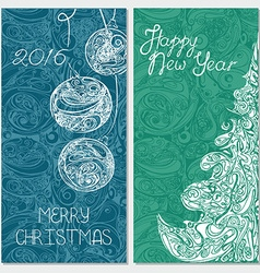 banner set with christmas tree and xmas balls vector image