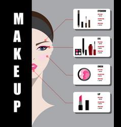 beautiful woman face with makeup vector image