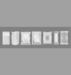 Big set of transparent empty plastic packaging vector