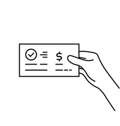 Black contour hand holding bank check vector