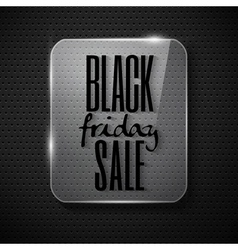 Black friday announcement in glass frame on techno vector
