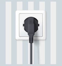black plug inserted in a wall socket on backdrop vector image
