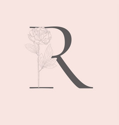 Blooming floral initial r monogram and logo vector