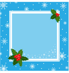 blue christmas decorative frame card template vector image