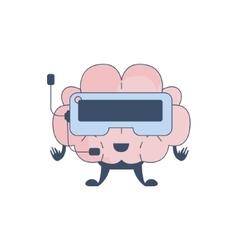 Brain Playing Virtual REality Video Games Comic vector