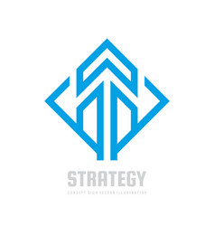 business strategy - logo template concept vector image