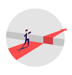 businessman standing in front of the obstacle gap vector image