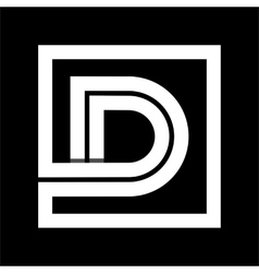 Capital letter D From white stripe enclosed in a vector
