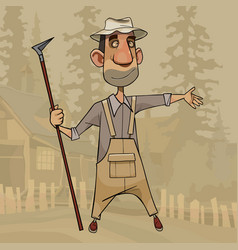 cartoon man stands with a hoe in his hand vector image