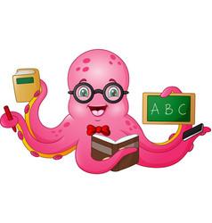 cartoon octopus teacher holding stationery vector image