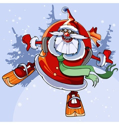 cheerful Santa Claus on skis flies vector image
