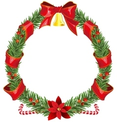 Christmas fir wreath with red ribbon and bell vector image