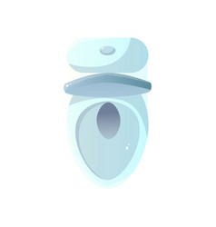 close-up top view of white ceramic toilet with vector image
