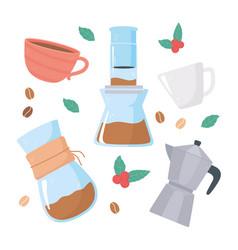 Coffee brewing methods moka pot aeropress vector