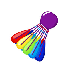 Colored shuttlecock icon for badminton game in vector