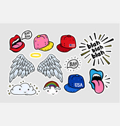 comic cute stickers patches in 70 s 80 s 90 s vector image