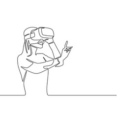 continuous one line woman in vr glasses clicking vector image