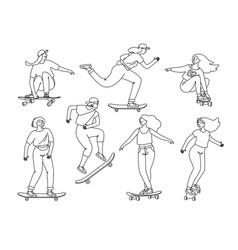 contour skateboarders vector image