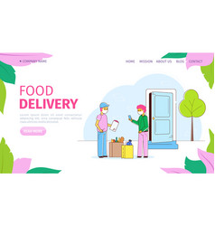 Courier with package food delivery during vector