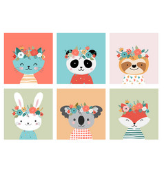 cute animals heads with flower crown vector image