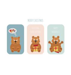cute brown bear sticker set elements vector image