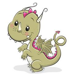 Cute cartoon dragon on a white background vector