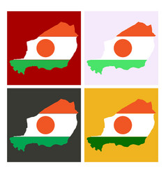 detailed of a map of niger with flag eps10 vector image