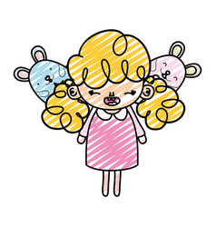 Doodle happy girl child with mice animals vector