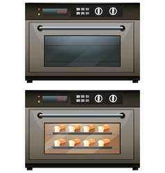 Electric oven with toasted bread vector