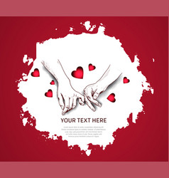 Finger holding hand hand drawn isolated on red vector