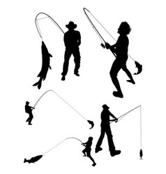 Fishing silhouette 02 vector