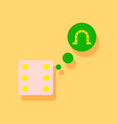 Flat icon design collection dice and horseshoe in vector