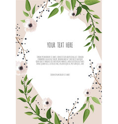 Floral wreath with green leaves frame border with vector