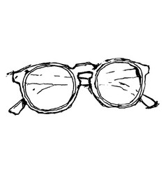 Free hand drawing a pair glasses vector