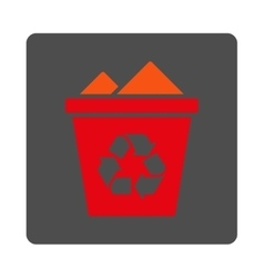 Full Dustbin Rounded Square Button vector image