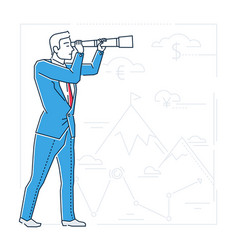 Future planning - line design style isolated vector