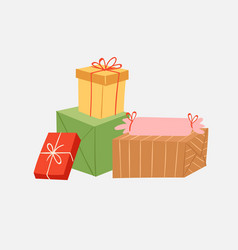 gift boxes stack cartoon pack composition vector image