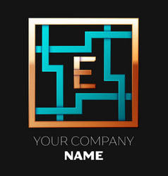golden letter e logo symbol in the square maze vector image