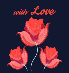 graphics red tulips vector image