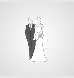 gray bride and groom flat icon vector image