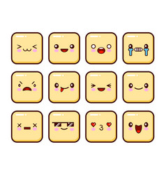 Great set yellow emotions emoji for web anger vector