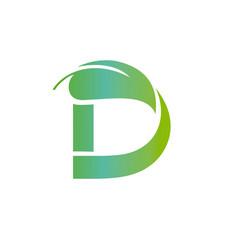 Green d composed big leaf on top vector